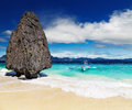 Tropical beach el nido philippines with bizarre rocks Stock Images