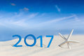 Tropical Beach And 2017 Happy ...
