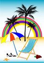 Tropical beach illustration Stock Image