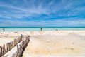 Tropical beach in isla mujeres mexico april tourists enjoy sea on famous playa del norte the island is located Royalty Free Stock Photo