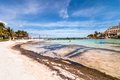 Tropical beach in isla mujeres mexico april tourists enjoy sea on famous playa del norte the island is located Stock Photo