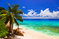 Tropical beach at island La Digue, Seychelles Royalty Free Stock Photography