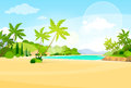 Tropical Beach Island Palm Tree Ocean Summer Royalty Free Stock Photo