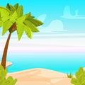 Tropical Beach Island with  Palm Tree. Sandy coast near Ocean. Summer Vacation Cartoon Vector Illustration Royalty Free Stock Photo