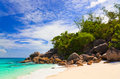 Tropical beach at island Praslin, Seychelles Royalty Free Stock Photos
