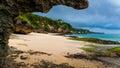 Tropical beach jimbaran bali near the popular temple pura segara south kuta indonesia Stock Image