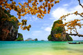 Tropical beach krabi thailand with limestone rock Stock Images