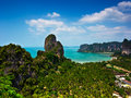 Tropical beach landscape panorama beautiful railay west beach rock formations blue ocean hotel resorts under sky high view point Royalty Free Stock Photos
