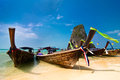 Tropical beach landscape thai traditional long tail boats ocean gulf under blue sky pranang cave beach railay krabi thailand Royalty Free Stock Image