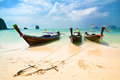 Tropical beach landscape thai traditional long tail boats ocean gulf under blue sky pranang cave beach railay krabi thailand Royalty Free Stock Photos