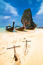 Tropical beach landscape thai traditional long tail boats ocean gulf under blue sky pranang cave beach railay krabi thailand Royalty Free Stock Photo