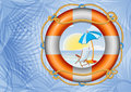 Tropical beach and lifebuoy illustration of in ring surrounded by palm tree leaves Stock Image