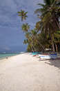 Tropical beach long stretch of beautiful white sand at alona panglao bohol philippine islands Stock Photos