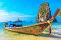 Tropical beach longtail boats andaman sea thailand Royalty Free Stock Photo