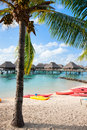 Tropical beach on moorea island beautiful in french polynesia Stock Photos