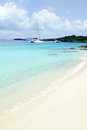 Tropical beach ocean with boats white sand yachts in the Stock Photography