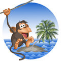 Tropical beach with a palm tree and the ridiculous monkey vector isolated objects Stock Images