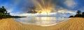 Tropical beach panorama sunset Royalty Free Stock Photo
