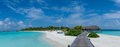 Tropical beach panorama view of the resort at Maldives Royalty Free Stock Photo