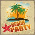 Tropical beach party poster with splash and palms on vintage style vector illustration Stock Images