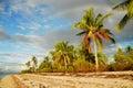 Tropical beach with rainbow
