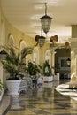 Tropical beach resort Hotel Patio Royalty Free Stock Photo