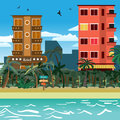 Tropical beach in the resort town with hotels. Flat vector carto Royalty Free Stock Photo