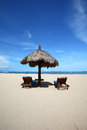 Tropical beach retreat relaxed sandy panorama on summer time Royalty Free Stock Image