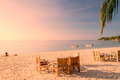 Tropical beach and sand in sunset background Royalty Free Stock Photo