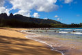 Tropical beach scene kauai hawaii photo taken in Royalty Free Stock Image