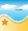 Tropical beach with sea-star Stock Photo