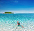 Tropical beach snorkeling woman swimming with snorkel andaman sea thailand Royalty Free Stock Photography