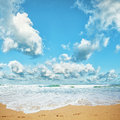 Tropical beach in sunny day Royalty Free Stock Photo