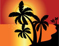 Tropical beach sunset Stock Image