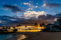 Tropical beach sunset in Oahu, Hawaii Royalty Free Stock Photo