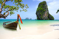 Tropical beach traditional long tail boat andaman sea thailand Royalty Free Stock Photo
