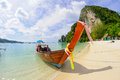 Tropical beach traditional long tail boat poda bay thailand Royalty Free Stock Photography