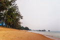 Tropical beach under gloomy sky thailand Stock Photo