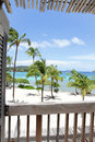 Tropical beach view from deck caribbean and ocean Stock Photography