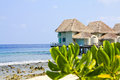 Tropical beach water bungalow Royalty Free Stock Photography