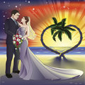 Tropical beach wedding illustration Royalty Free Stock Photo