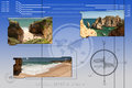 Tropical beaches background with photos of and geometrical shapes Royalty Free Stock Photo