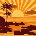 Tropical beautiful sunset, landscape, palms, sea, stones, vector, cartoon style, illustration isolated