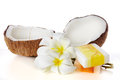 Tropical and beauty c close up coconuts flowers soap Stock Image