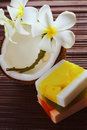 Tropical and beauty a close up coconuts flowers soap Stock Photo