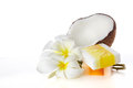 Tropical and beauty d close up coconuts flowers soap Royalty Free Stock Images