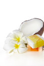 Tropical and beauty e close up coconuts flowers soap Stock Photography