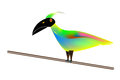 Tropical bird perched vector art of a with beautiful greens and turquoise and pinks and yellows Stock Photography