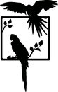 Tropical bird silhouette Stock Image
