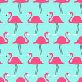 Tropical birds flamingo on a turquoise background. Seamless pattern.